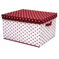 Quality OEM Durable PP Non Woven Storage Boxes with Cover , White Red Dots Printed wholesale