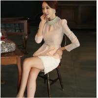 Quality Pink Diamond Pearl Collar Womens Suit Dress with Lace Skirt for girls wholesale