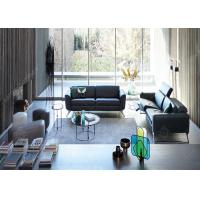Quality Hotel Lobby Stainless Steel Sofa And Chair Set , Black Modern Sectional Leather Sofas wholesale
