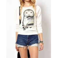 Quality New Autumn Casual Cute White Owl Animal Print Beading Hoodies Pullover for Women High Qual wholesale