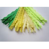 Quality Custom Length Double Sided Sewing Notions Zippers , Nylon Lace Zipper For Clothes wholesale
