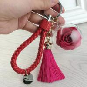 China Christmas Tree Decoration Acrylic Ball Preserved Rose Key Ring on sale