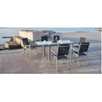 China Modern Style Metal Patio Table And Chairs 7 Piece Patio Set With Textilene Fabric on sale