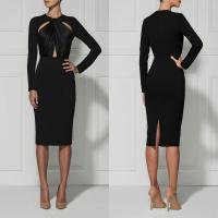 Quality Black / Red Casual Cut Out Bandage Dress Long Sleeve For Women wholesale