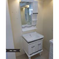 Quality Modern PVC Bathroom Cabinet / Single Bowl Bathroom Vanities With Mirror 60cm wholesale