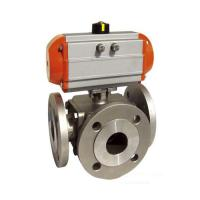 Quality Sanitary SS 304,316 3 way Ball Valve Pneumatic operated Flanged End,PN16,PN40,L Port/T Port wholesale