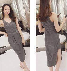 China women's knitting vest skirt, long skirt shape your body sexy sweater skirt sleeveless on sale