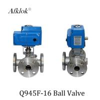 Quality Stainless Steel Sanitary 3 way flange Electric Motor Ball Valve wholesale