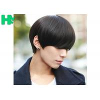 Quality Black Color Mens Synthetic Hair Wig With High Temperature , No Shedding No Tangle wholesale