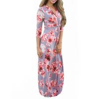 Quality Casual 3 4 Sleeves Summer Floral Maxi Dresses , Petite Length Maxi Dresses For Weddings wholesale