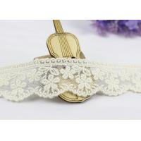 Quality 3.5 Width White Cotton Lace Trim By The Yard,  Scalloped Floral Mesh Lace Ribbon wholesale
