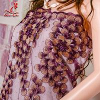Cheap 130CM Polyester Guipure Lace Fabric / African Beaded Flower Lace Embroidery for sale