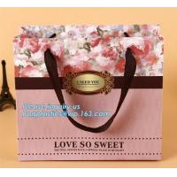 Cheap Manufacturer hot sale cheap custom paper bag luxury kraft paper bag,pure color special paper flower bag with ribbons han for sale