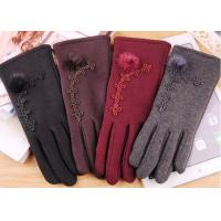 Quality Wine Red Fleece Touchscreen Winter Gloves With Super Soft Lining Keeping Warm wholesale