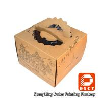 Quality Brown Kraft Paper Cake Packaging Boxes , Recyclable Square Cake Boxes With Handles wholesale