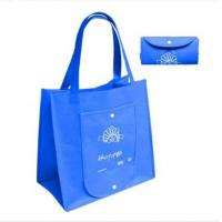 Quality Blue Folding Cloth Custom Reusable Shopping Bags with ODM Logo Printed for Advertising wholesale