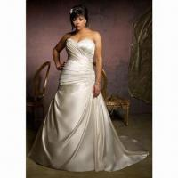 Quality Sweetheart Satin Plus Size Wedding Dress, New Arrival, with Sweep Train wholesale