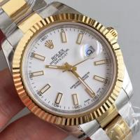 Quality Wholesale 2016 Rolex 116334 DateJust II Two Tone YG 41mm Automatic 3136 White Dial Stick Marks Fluted Bezel Watch wholesale
