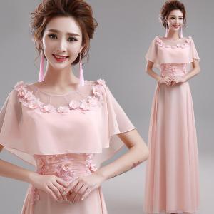 China Pink O Neck Chiffon Floor Length Elegant Evening Dresses TSJY058 on sale