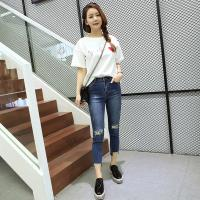 Extremely Low Rise Womens Tapered Jeans Cotton Spandex Customized Color Fade Proof