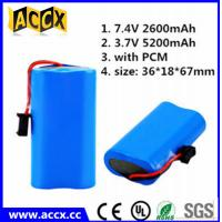 Quality ICR18650 2s1p 7.4v 2200mah li ion battery pack for flash lights wholesale