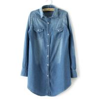 Quality Denim Long Button Down Womens Shirts Blouses OEM For Office wholesale