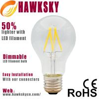 Quality CE ROSH 2014 a60 warm white dimmable led filament bulb wholesale