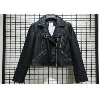 Quality Black Textured Pleather Ladies PU Jacket Asymmertrical Zip Through For Women wholesale