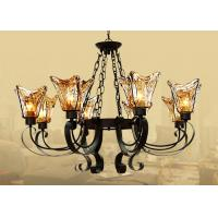 China Black 8 Light Home Decorative Wrought Iron Chandelier With Amber Glass Shade on sale