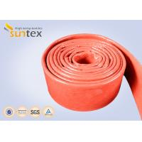 China Flame Protection Red High Temp Fiberglass Sleeving Hose And Cable Thermal Barriers on sale