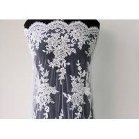 Quality Embroidery Pearl Floral Corded Lace Fabric , White Bridal Lace Fabric With Scalloped Edge wholesale