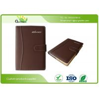 Quality Ring Binder Brown PU Leather A4 Custom Embossed Notebook for Company Brand Advertising wholesale