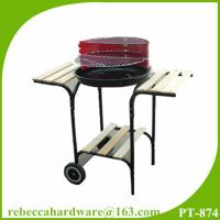 China Charcoal bbq grill 18 inch trolly round barbecue grill with side table easy assembly on sale