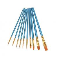 Quality 10Pieces Round Pointed Tip Nylon Hair Brush Set, Blue wholesale