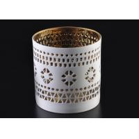 Quality Pierced 8cm Height handmade ceramic candle holders Golden Electroplated as Wedding Souvenir wholesale