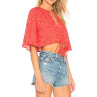 Quality Boutique Clothing Women Sexy Red Polka Dot Chiffon Summer Blouse wholesale