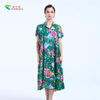 Beautiful Breathable Women'S Long Floral Dresses Cotton Material With Pockets
