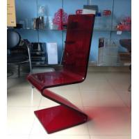 Quality Dining Room Modern Acrylic Furniture , Z Shape Transparent Red Acrylic Chair wholesale