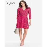 China Red Floral Long Sleeve Feminine Casual Dress on sale