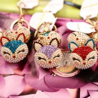 China The keychain which like a fox head shape with diamond lovely keychain hanged on your fashional bag as gift for your baby on sale