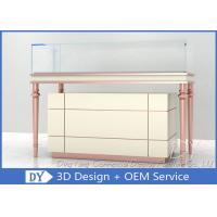 Quality Rose Gold Beige Wooden Glass Jewelry Showcases / Jewellers Display Cases For Sale wholesale