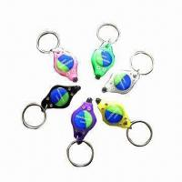 China Promotional Gift LED Keychains, with Dome Sticker Logo, Made of ABS Plastic on sale
