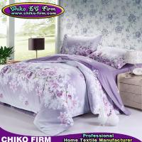 China Wholesale Pure Cotton Purple Flower Queen King Size Bedding Sets on sale