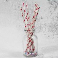Quality 8mm small caliber pearl cocktail pink heart color Biodegradable Paper Drinking Straws wholesale