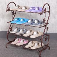 Quality H265 Solid Metal Mesh Shoe Rack Four Tiers Powder Coating Europe Style wholesale