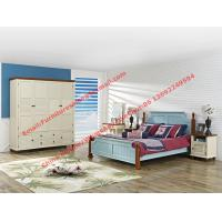 Cheap Mediterranean Leisure Style bedroom furniture in blue sky painting wood bed in European winery modelling for sale