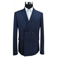 China Blue Stripe Men'S Fashion Blazers Double Breasted Business Adults USA Size on sale