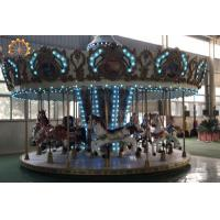Quality Upper Transmission Amusement Park Carousel 16 Seats Fiberglass And Steel Material wholesale