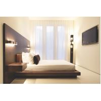 Quality Hotel Furniture Wood panel cleats to wall Headboard with attached Upholstered headboard and two floating nightstands wholesale