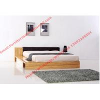 Quality Modern bedroom furniture by melamine MDF storage Bed and leather upholstery headboard wholesale